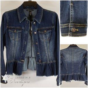 INC Women's Ruffled Denim Jacket, Medium NWT!🧥